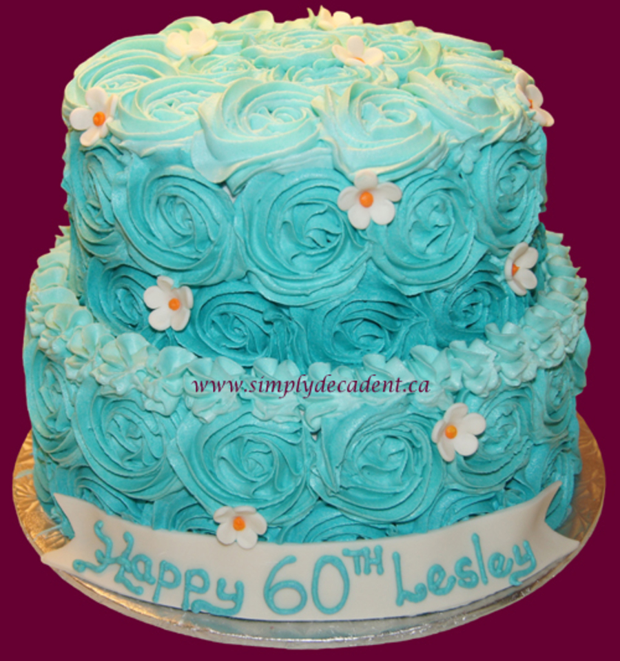 2 Tier Buttercream Birthday Cake With Turquoise Rosettes And Fondant Daisies on Cake Central