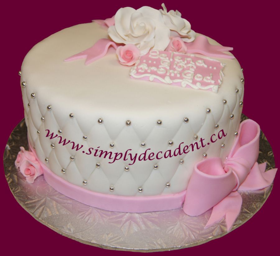 Baptism Cake Quilted Fondant With Pink Bow Amp Roses - CakeCentral.com : quilted fondant - Adamdwight.com
