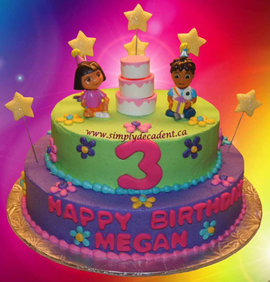 Awesome 2 Tier Buttercream Birthday Cake With Dora The Explorer Diego Funny Birthday Cards Online Alyptdamsfinfo
