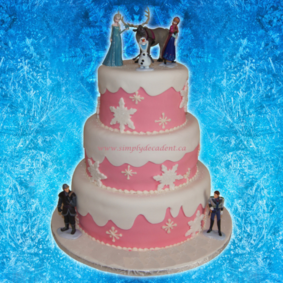 3 Tier Pink And White Fondant Disney Frozen Birthday Cake