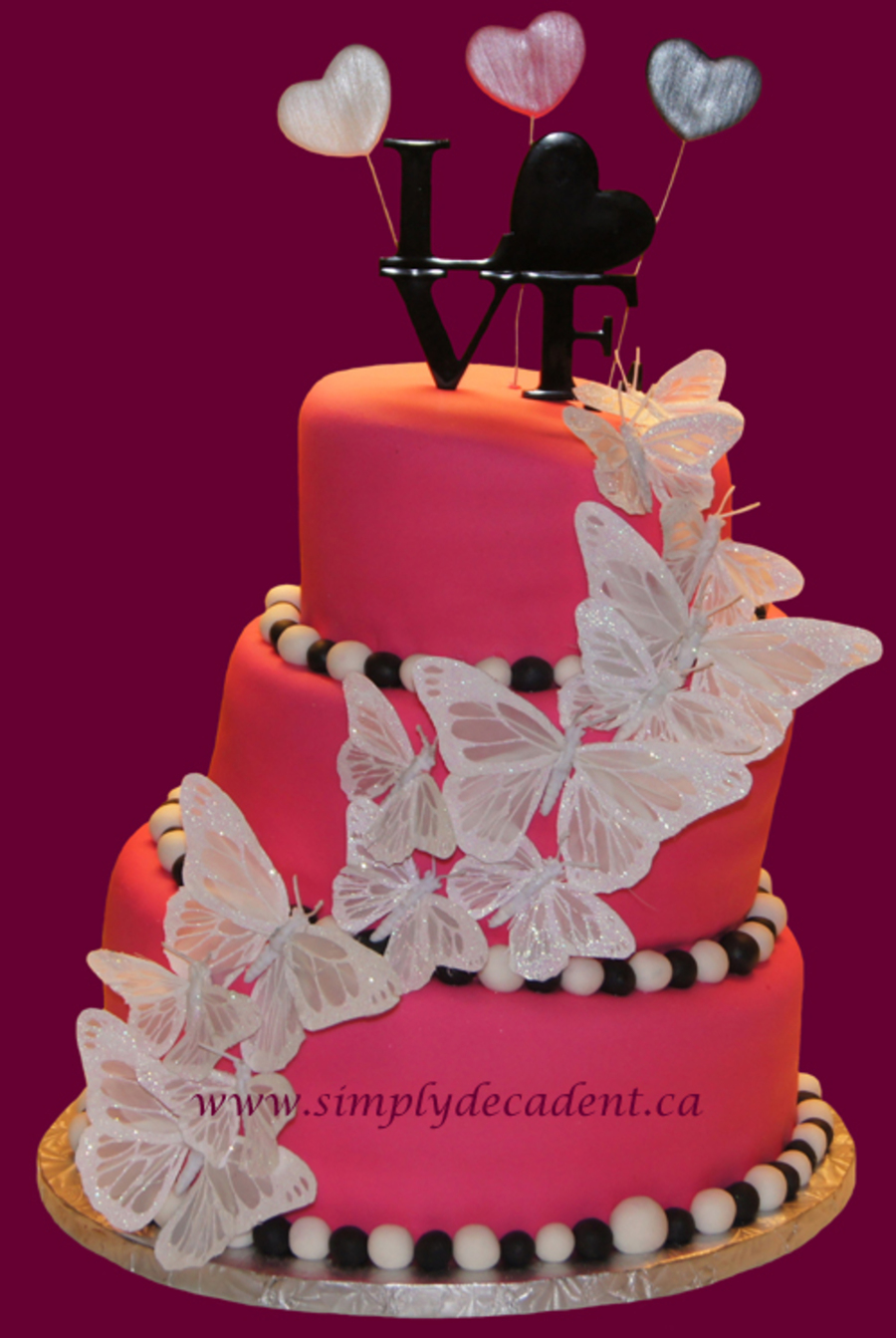 3 Tier Pink Fondant Topsy Turvy Wedding Cake With Butterflies Amp Hearts on Cake Central