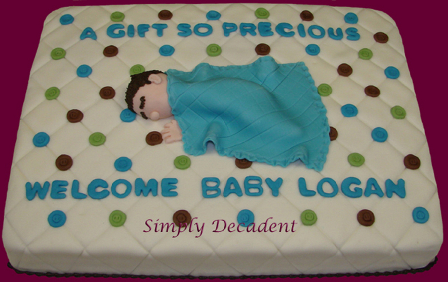 Baby Boy Sleeping With Blanket Shower Cake on Cake Central