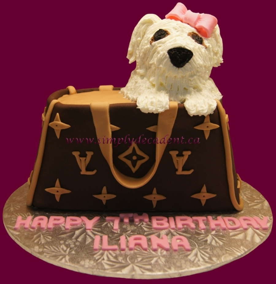 3D Louis Vuitton Purse Cake With White Puppy on Cake Central