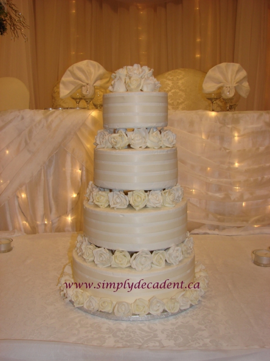 Ribbon & Roses Wedding Cake on Cake Central