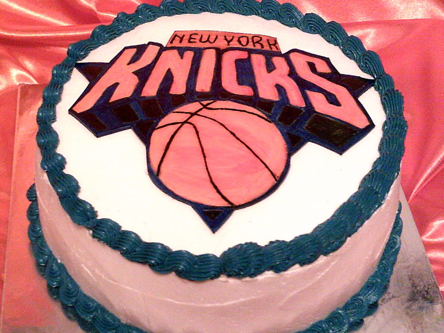 Double Layered Lemon Cake With Vanilla Icing Finished Off With A Hand Painted 8 Inch New York Knick Logo on Cake Central