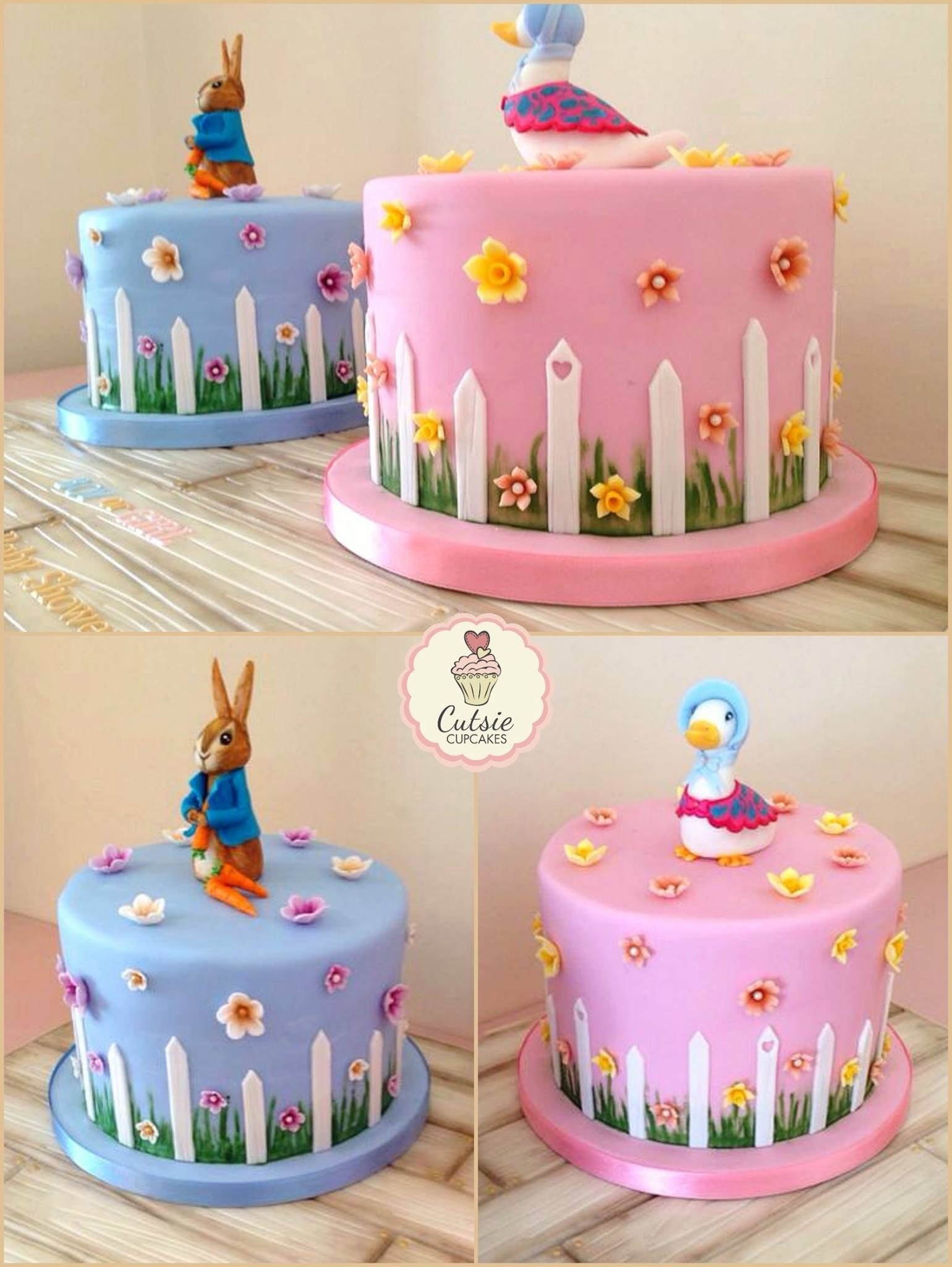 I Loved Making These Beatrix Potter Themed Baby Shower Cakes Featuring  Peter The Rabbit U0026 Jemima The Puddle Duck.