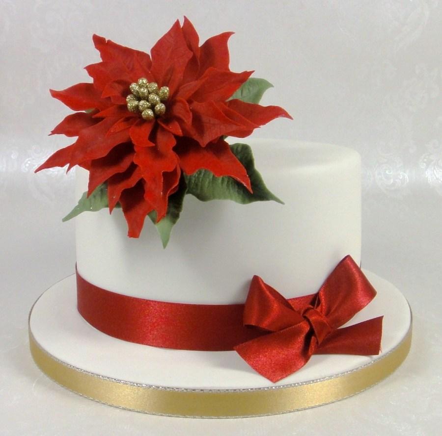 Christmas Cake Poinsettia Decoration