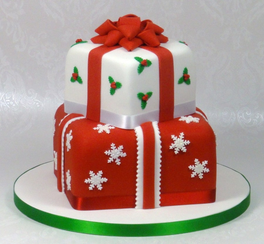 Christmas Cake Decoration Present : Christmas Presents Stacked Cake - CakeCentral.com