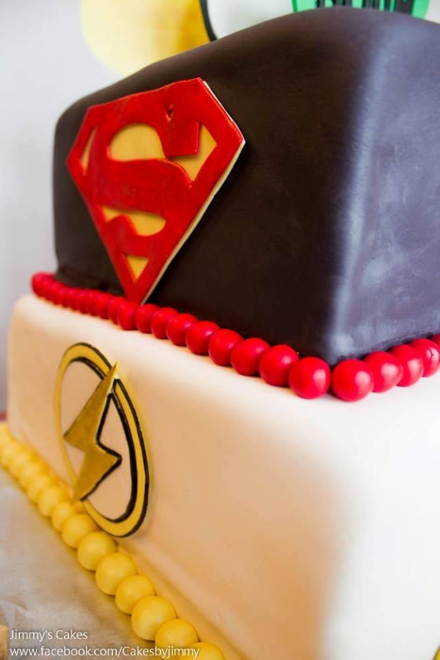 DC Marvel Superheroes Birthday Cake Vanilla W Raspberry Filling And White Chocolate Buttercream