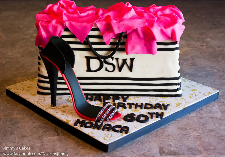 94473026c98 60Th Birthday Cake/dsw Shopping Bag With Gum-Paste High Heel Shoe ...