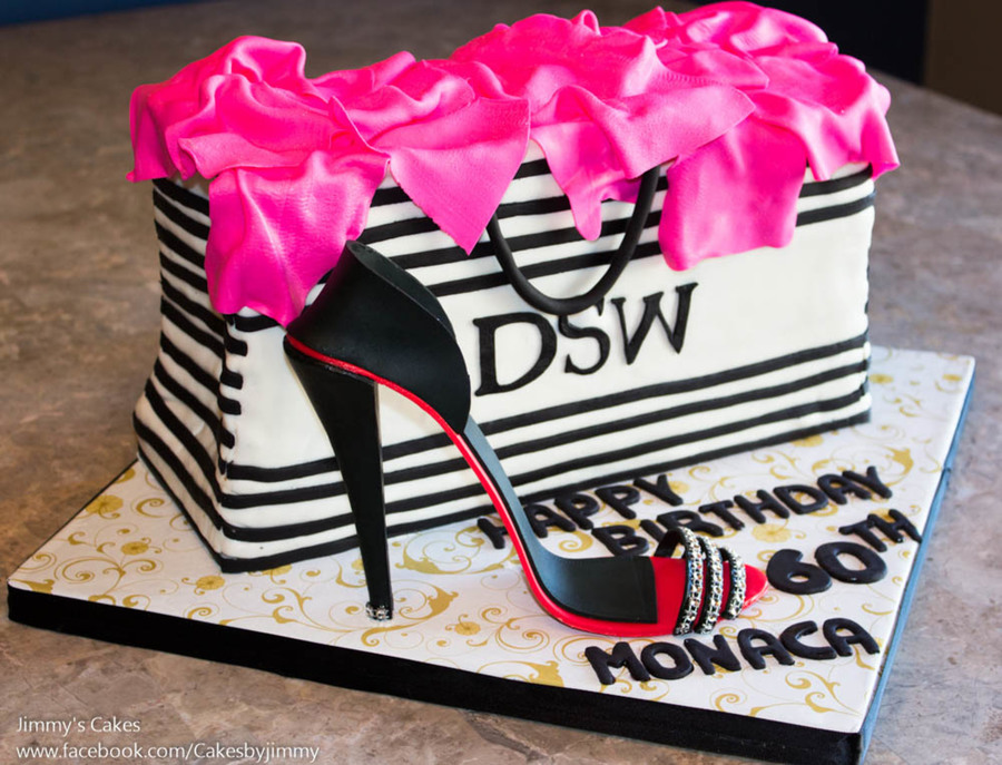 60th birthday cake dsw shopping bag with gum paste high