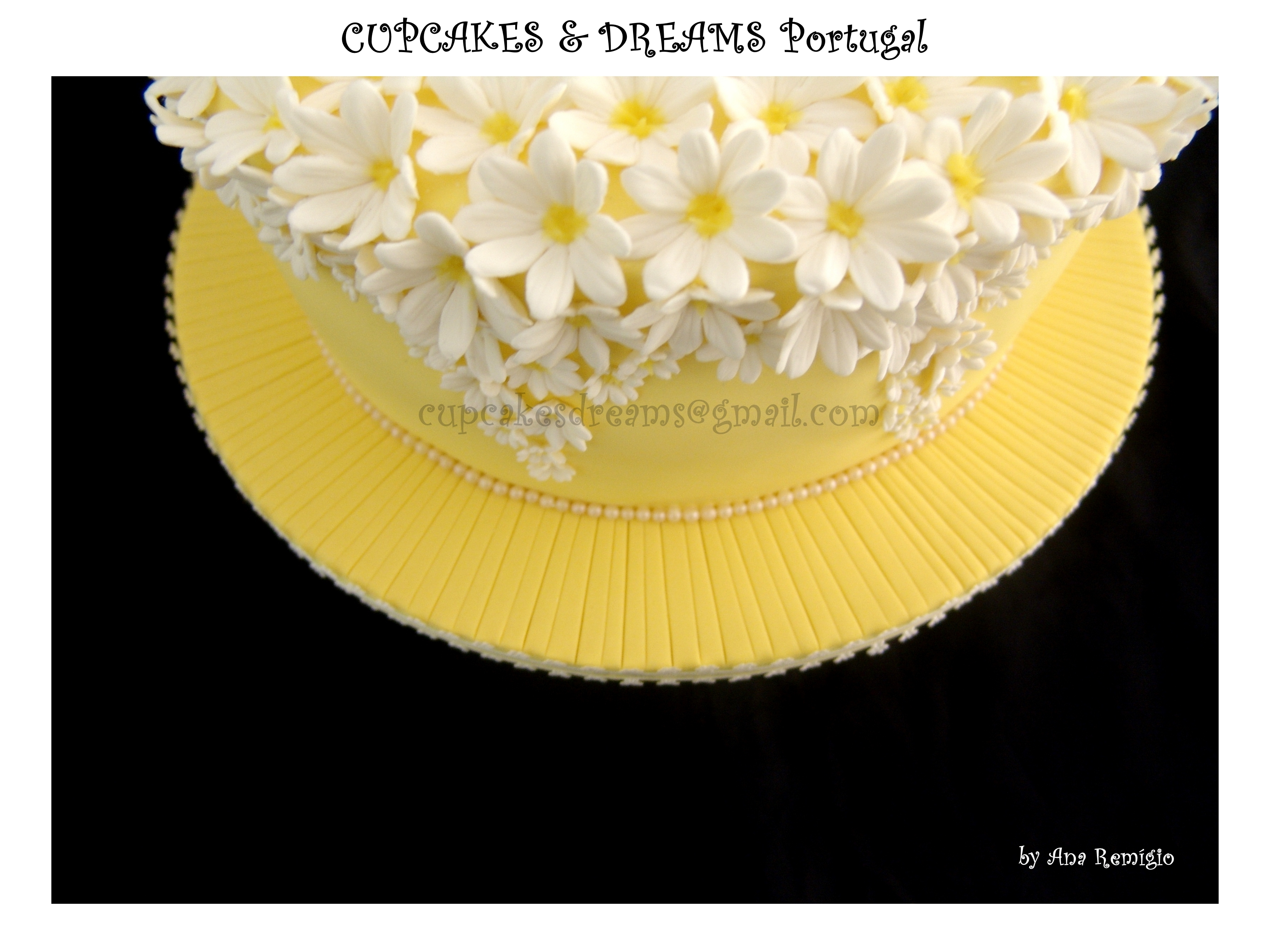 White & Yellow Wedding Cake - CakeCentral.com