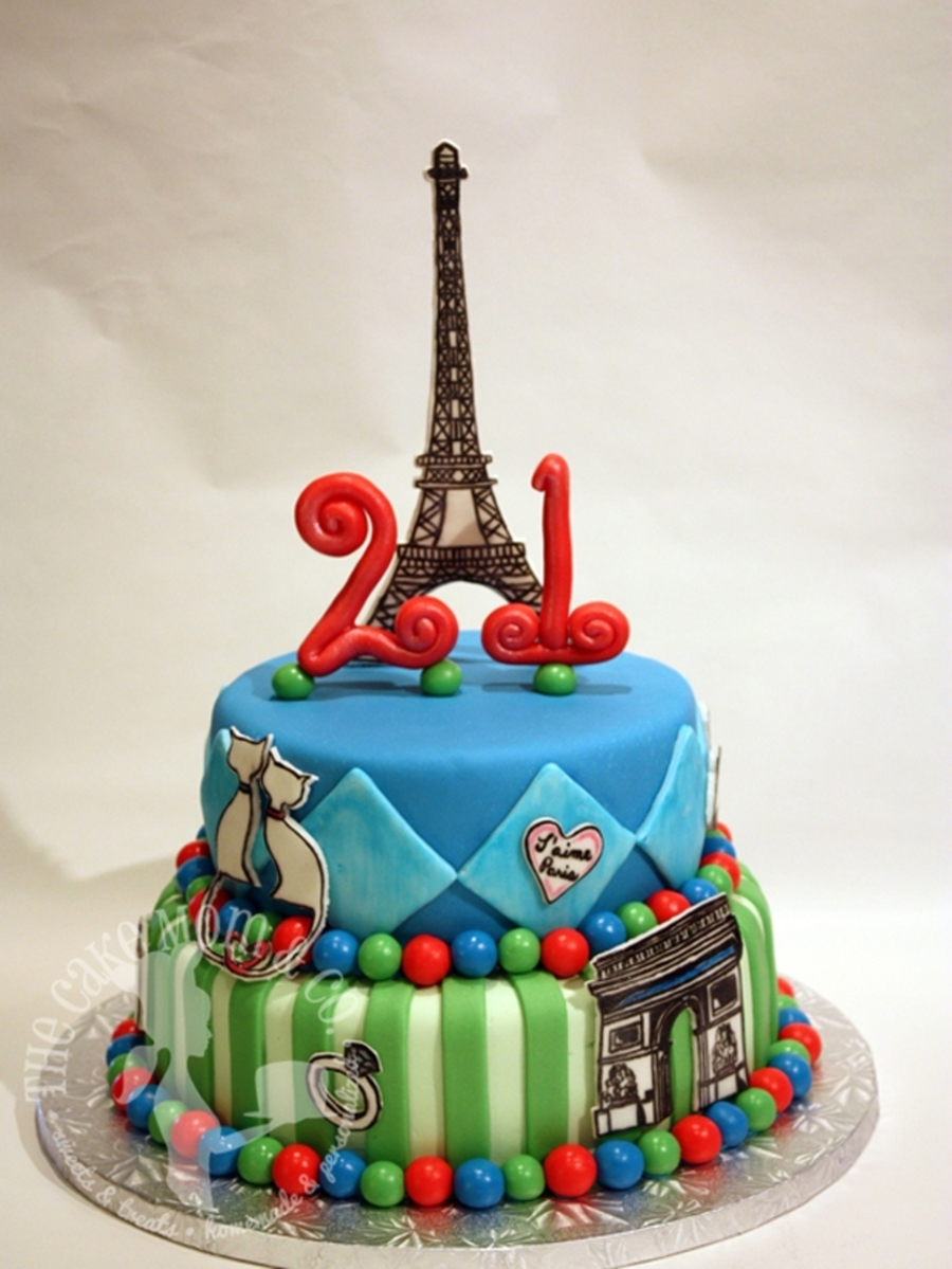 Paris Themed Birthday Cake on Cake Central