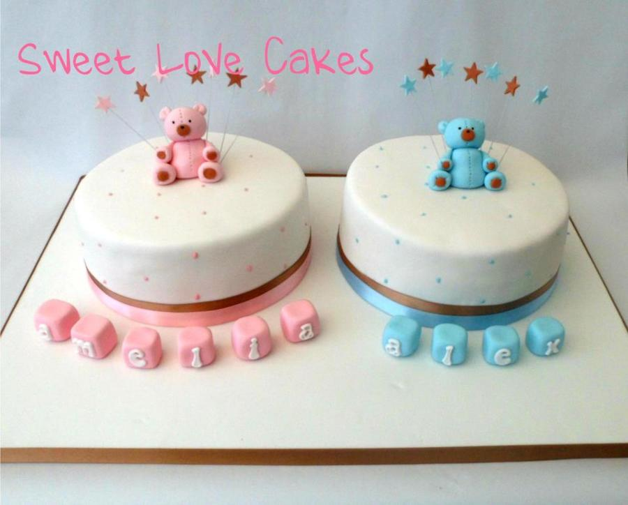 Christening Cake Designs For Twins : Christening Cake For Twins - CakeCentral.com