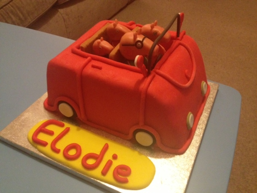 Peppa Pig Car Cake With Modelling Chocolate Figures Cakecentral