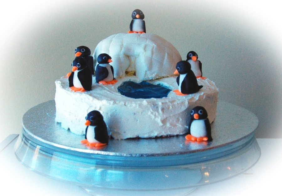 Lemon Cake With Smbc Filling And Frosting Gum Paste Penguines Fondant Igloo Got The Idea From This Site Thanks on Cake Central
