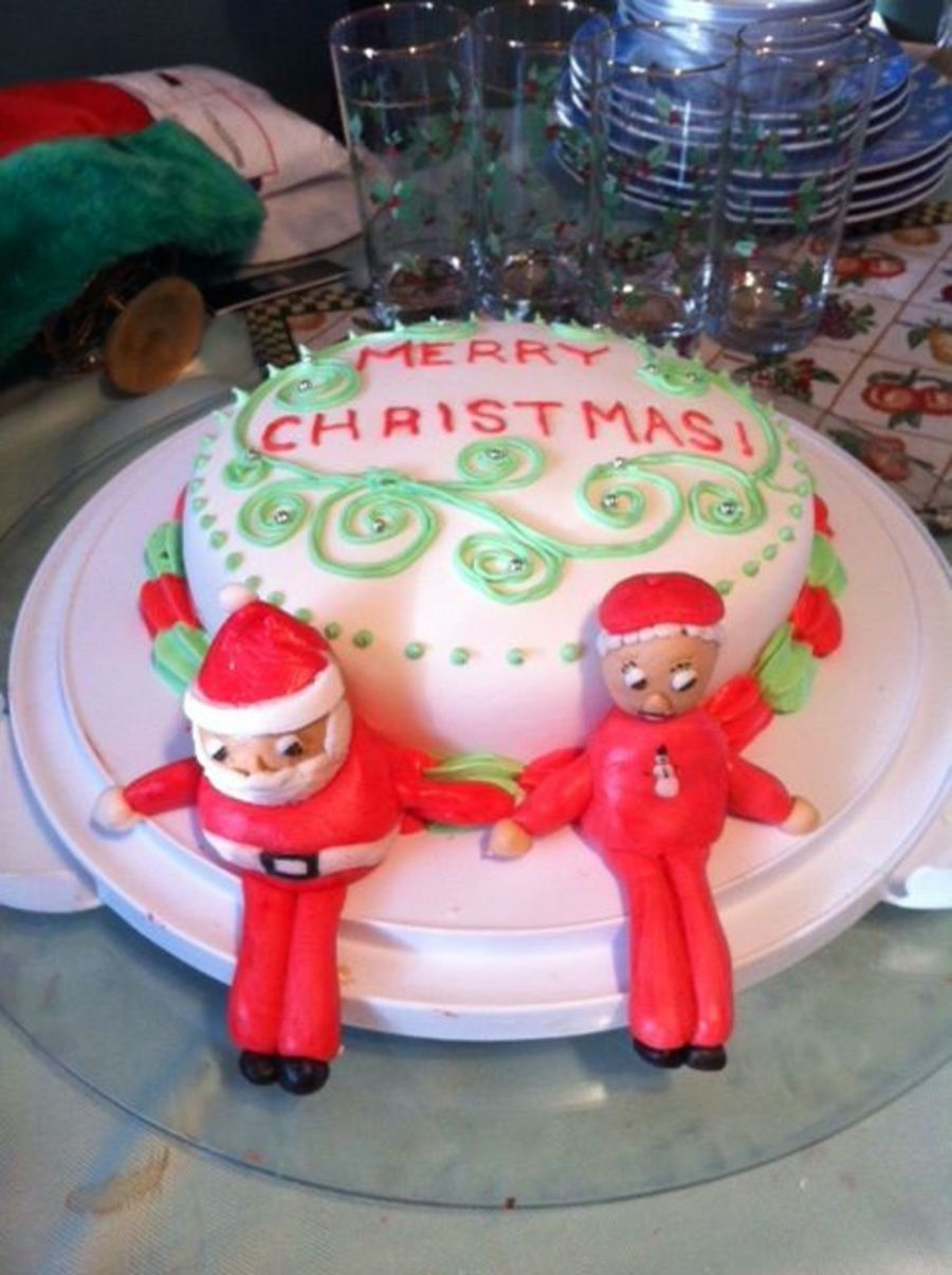 Carrot Cake Topped With Marshmellow Fondant And Santa Amp Mrsclaus  on Cake Central