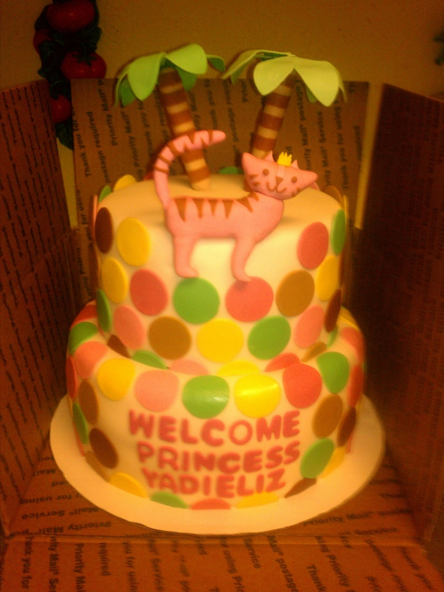 Kitty-Palm Tree Polka Dot Cake on Cake Central