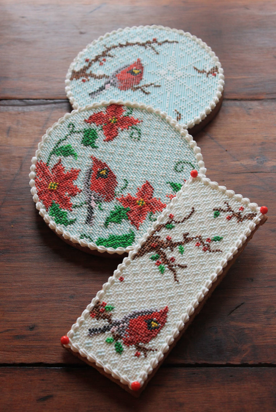 Christmas Cardinal Needlepoint Cookies on Cake Central
