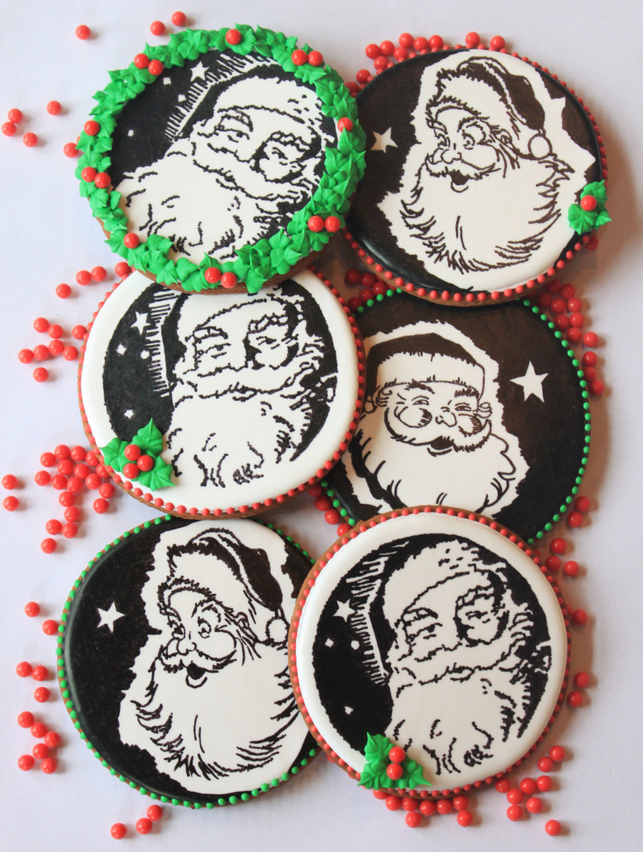 The Many Moods Of Santa, Cookies By Julia M. Usher  on Cake Central
