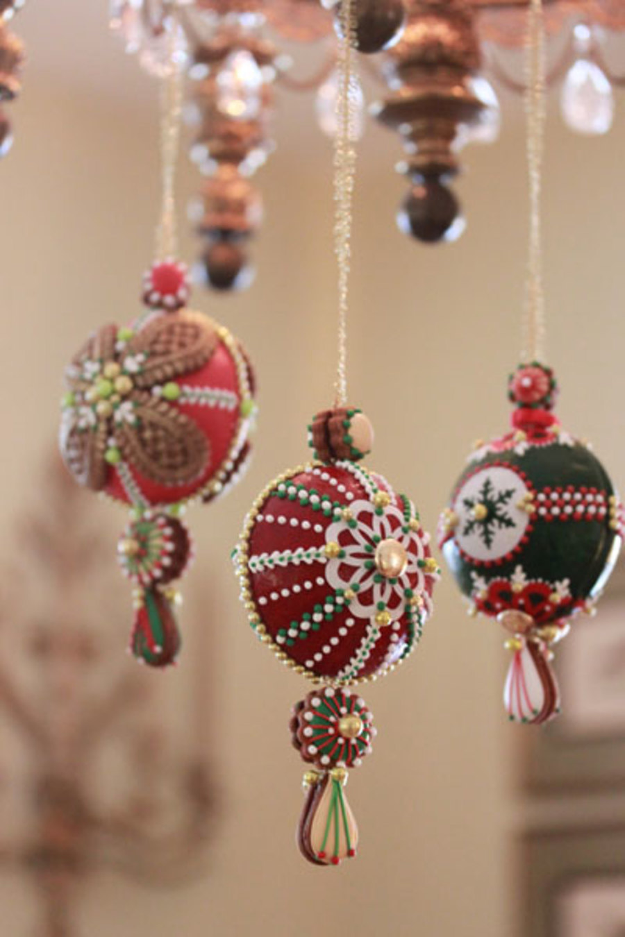 Cookie ornaments hanging from my chandelier for Hanging ornaments from chandelier