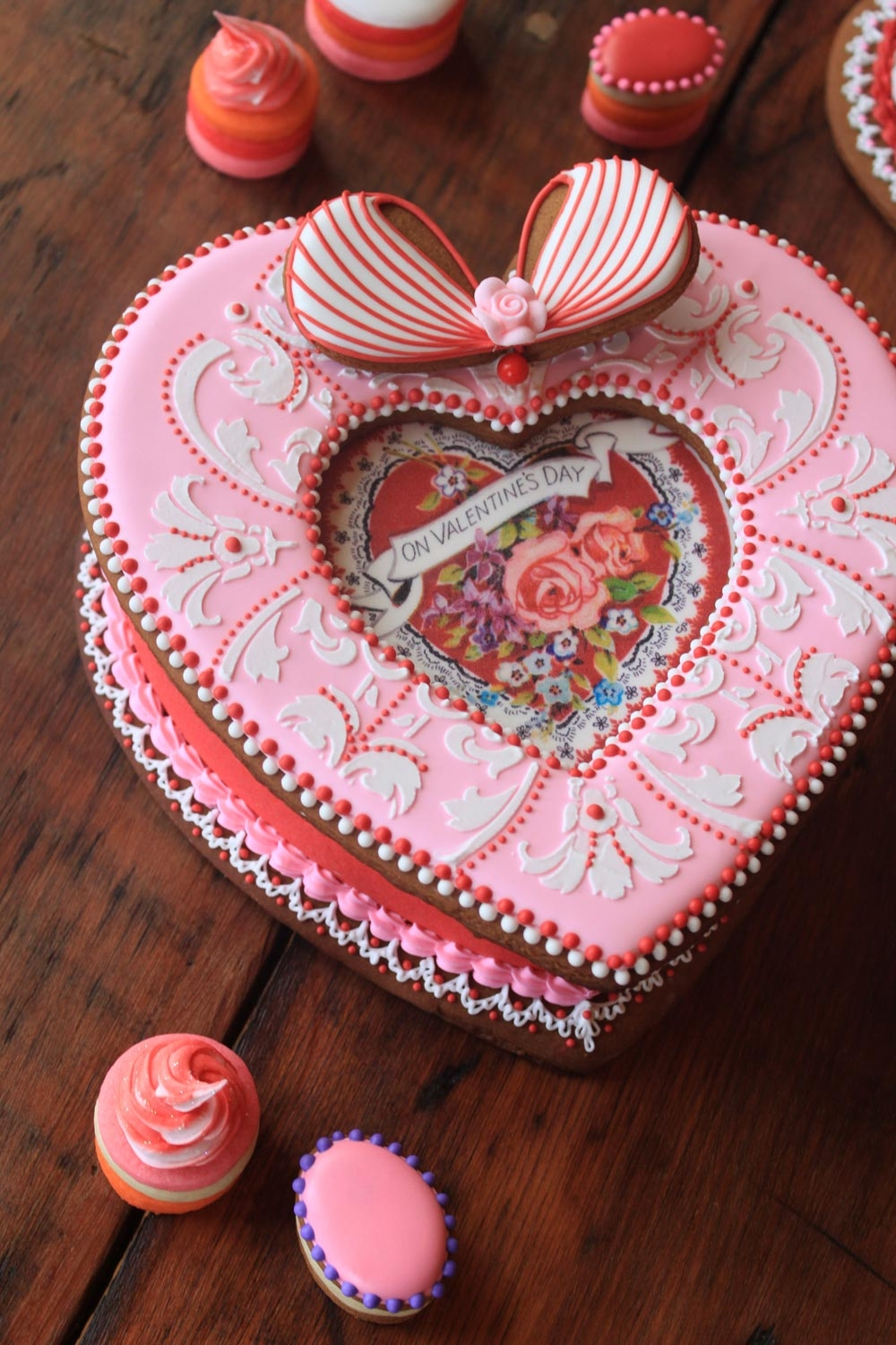 Pink Valentine's Day Cookie Box By Julia M. Usher on Cake Central