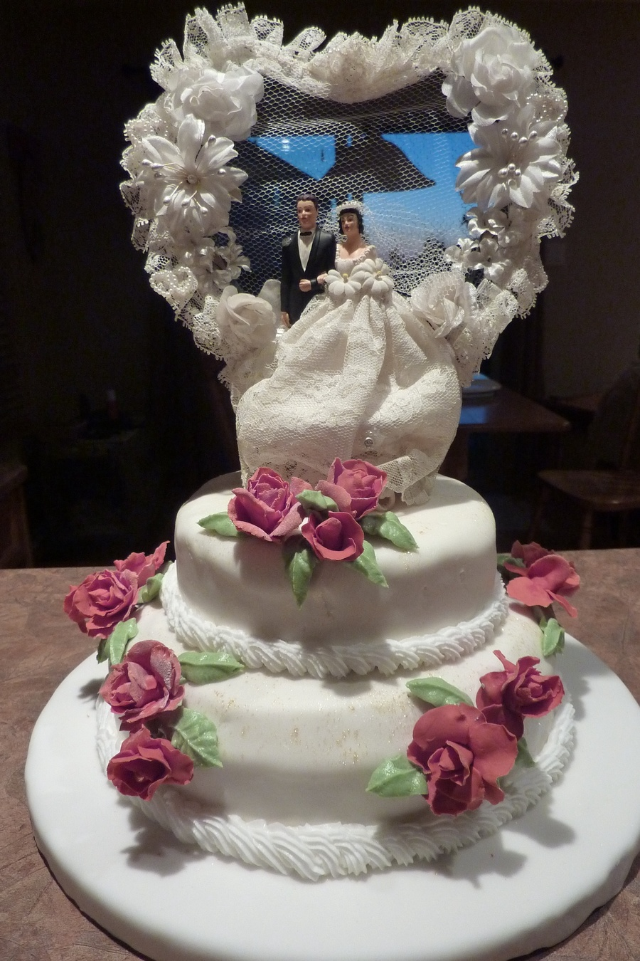 50th Wedding Anniversary Using The Cake Topper From The Bride And