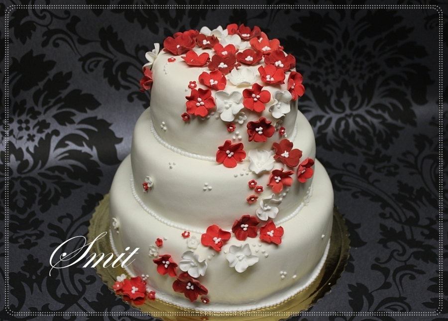 Red Flowers on Cake Central