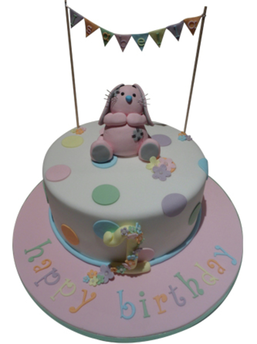 1St Birthday Cake With Edible Bunny And Bunting on Cake Central