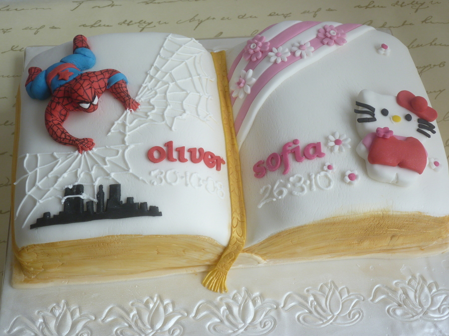 Spiderman And Hello Kitty Christening Cake on Cake Central