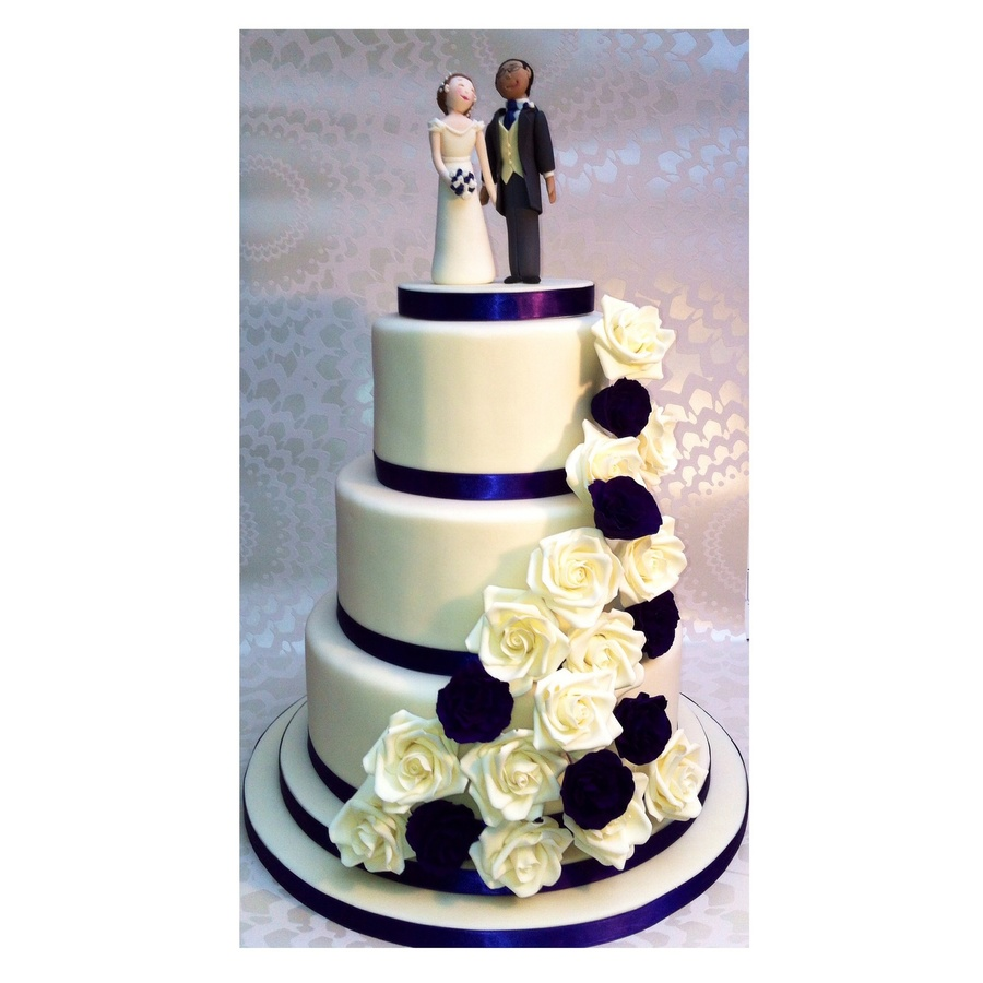 3 Tier Wedding Cake In Cream And Cadbury Purple The Colours All Went Well Until I Tried To Take Photos Looks Blac