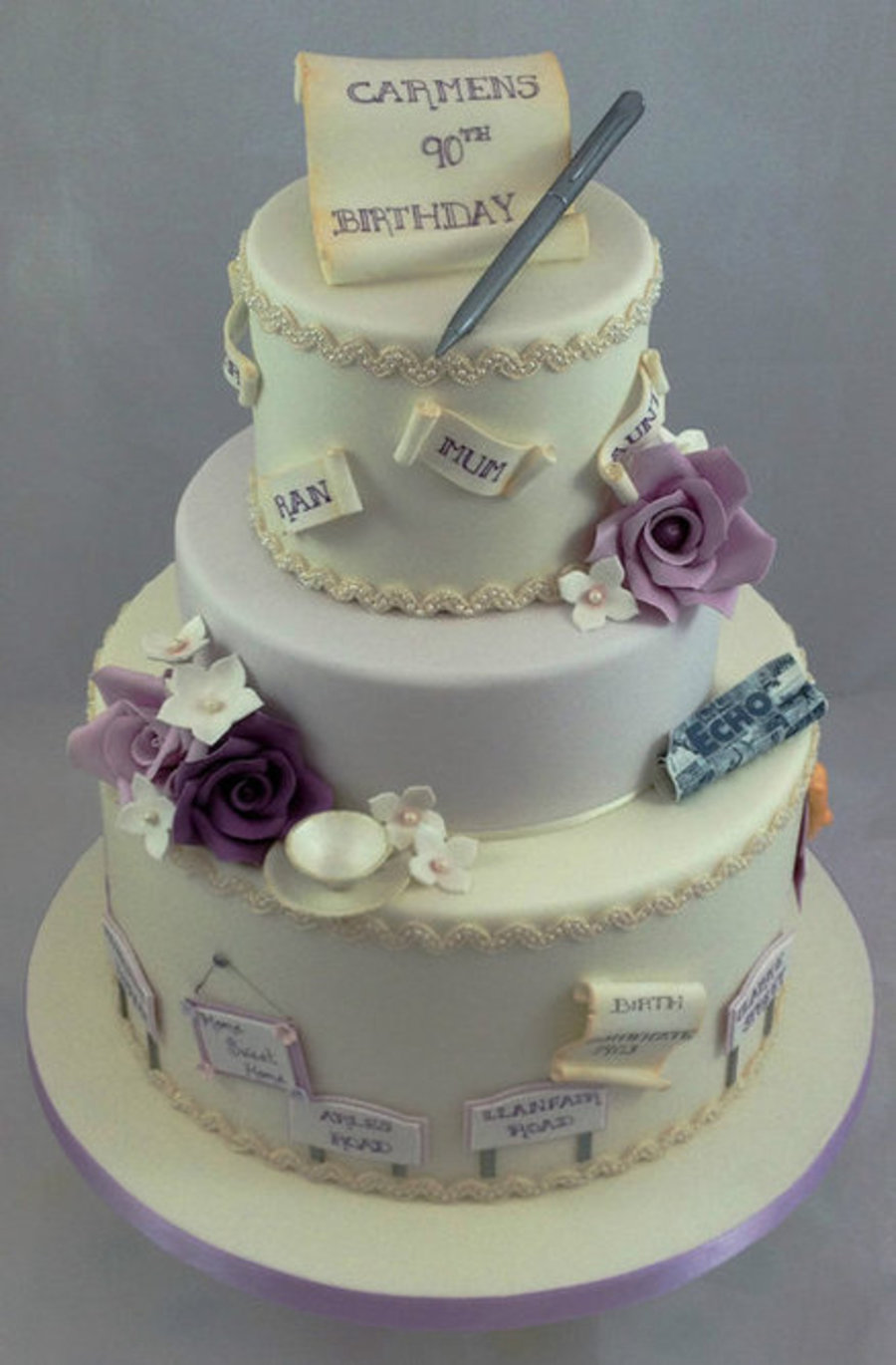 This 3 Tier 90Th Birthday Cake Was A Very Special Order For Me As The Client And Her Family Had Thought Carefully About Design Of T