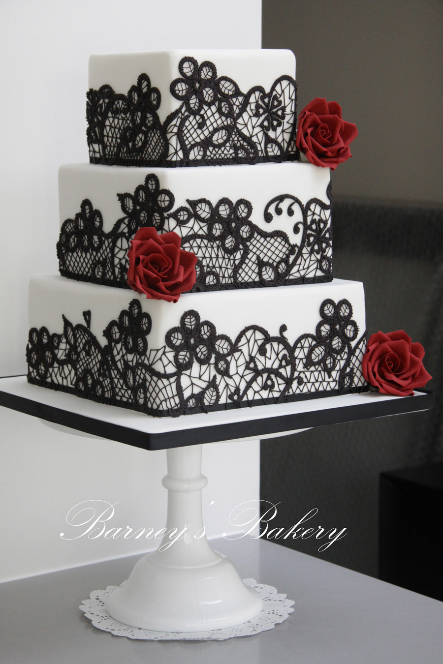Black Red And White Wedding Cake - CakeCentral.com