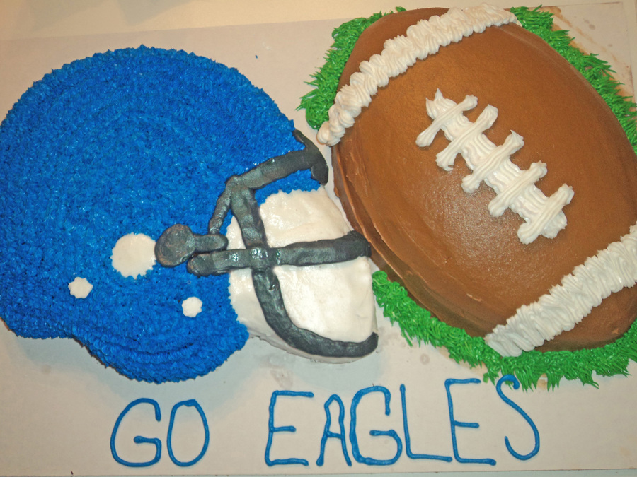 Football Helmet And Football Cake All Decorated In Buttercream For The Local High School Team on Cake Central
