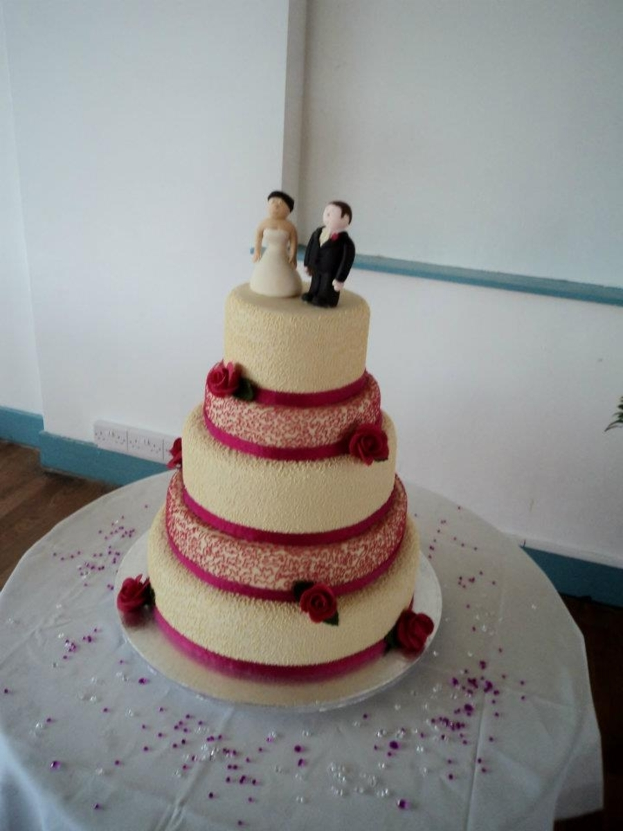 Pink And Ivory Wedding Cake on Cake Central