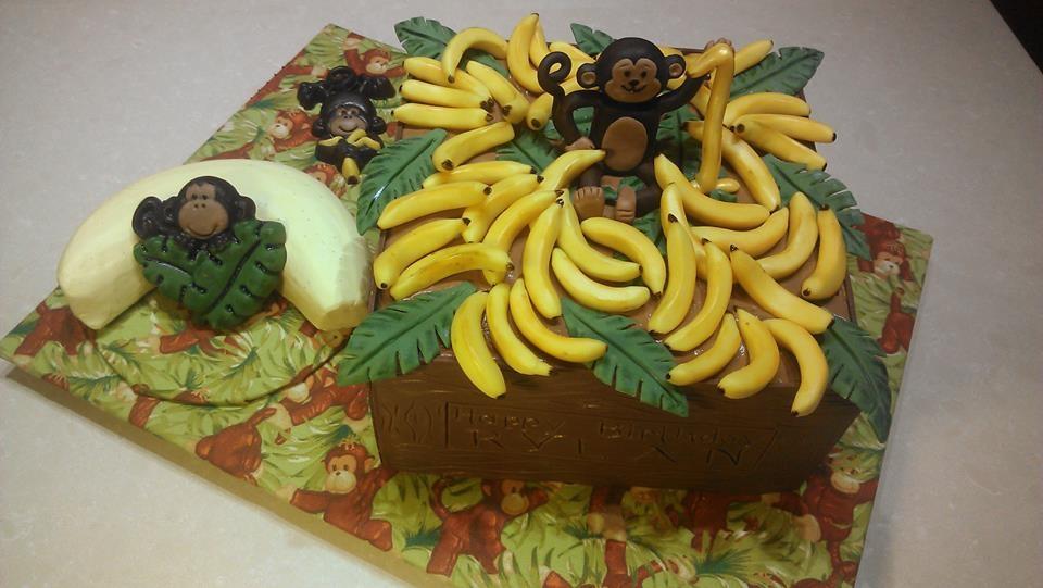 Monkey bananas cake natural dyes - Banana cake decoration ...