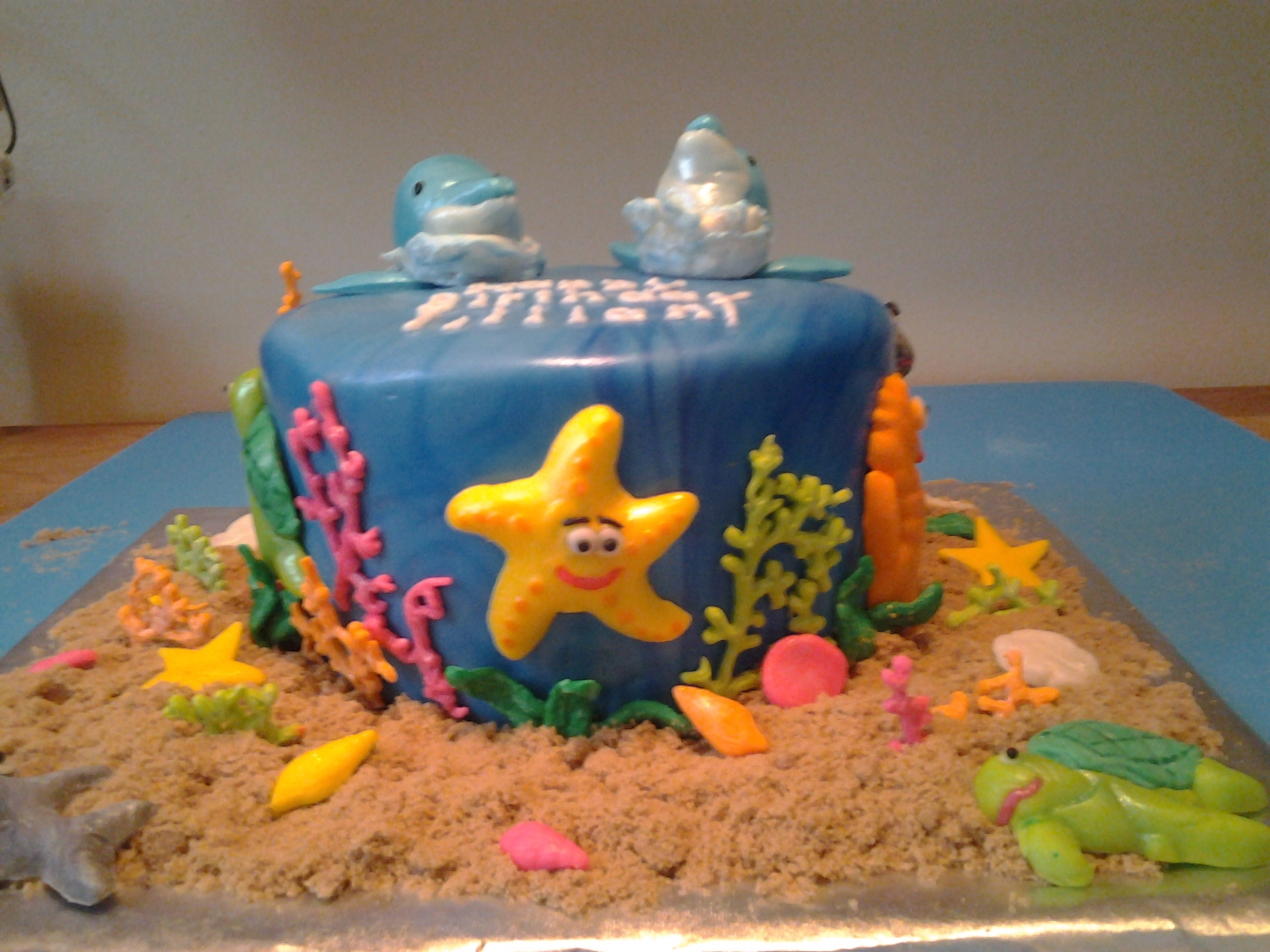 This Ocean Themed Birthday Cake Was For A Co Workers Daughters 7th Party The Girl Wanted Dolphins On Her And Of Course I Had To