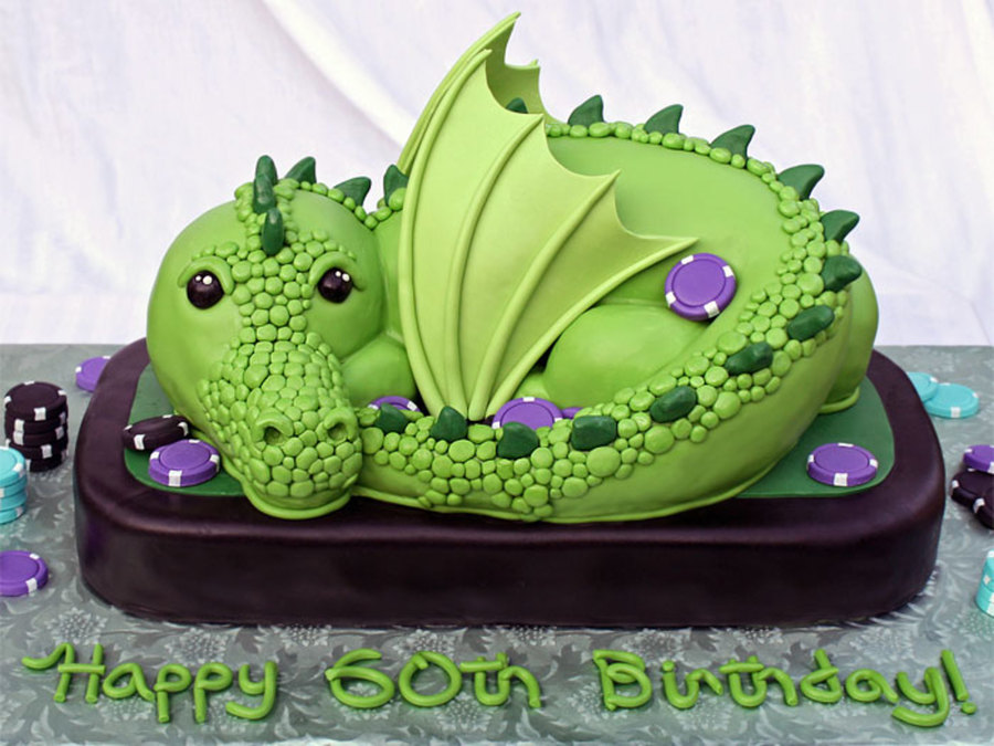 Green Dragon All Edible And All Cake Except For The Wings And Poker Chips Which Were Gumpaste Vanilla Cake With Italian Meringue Buttercr on Cake Central