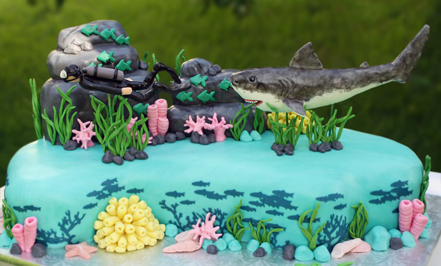 100 Serving Ocean Themed Cake For Surprise 50Th Birthday Party