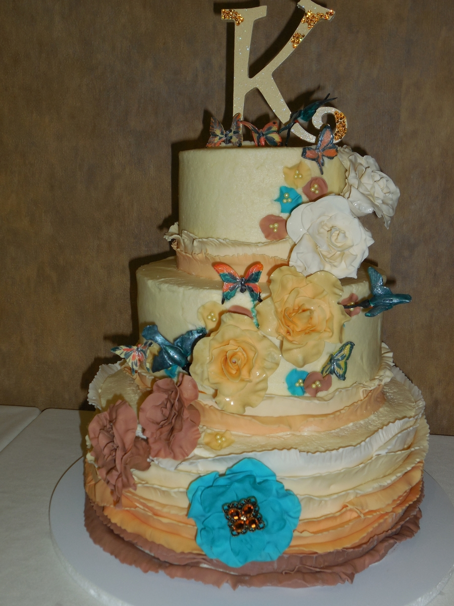 Ombre, Ruffles, Flowers, Butterflies, And Hummingbirds on Cake Central