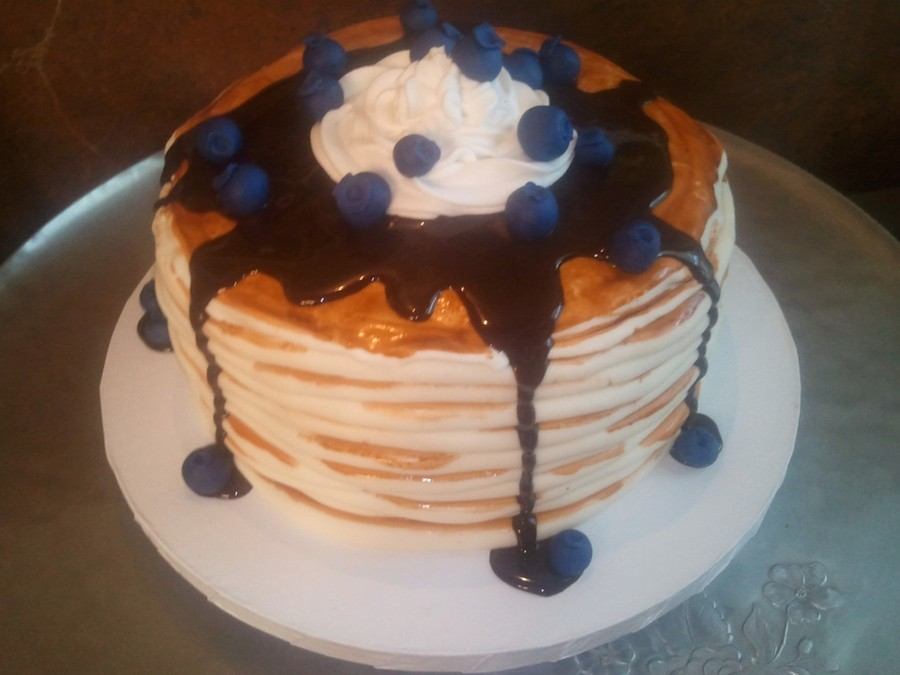 "Pancake Birthday Cake With ""blueberries"" And ""syrup"" on Cake Central"