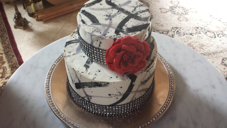 Red Peony; Diamante; Splatter on Cake Central