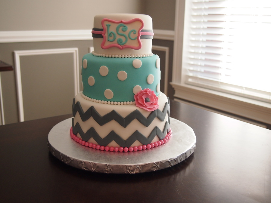 Chevron And Monogram St Birthday Cake CakeCentralcom - Monogram birthday cakes