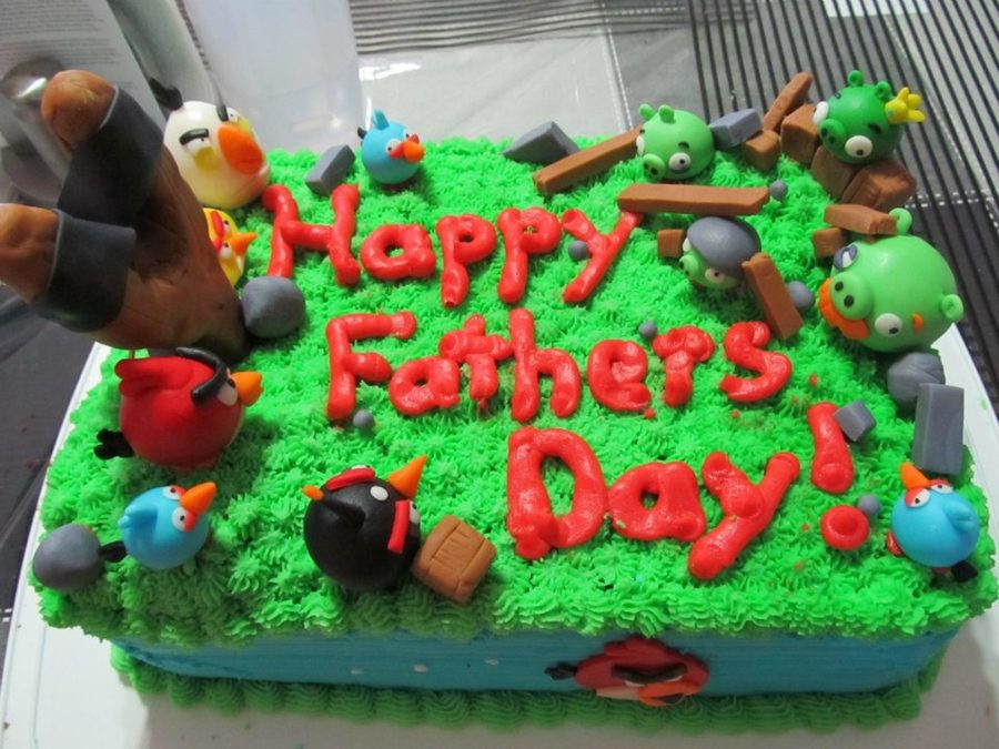 Angry Birds Themed Fathers Day Cake I Made For My Dad Chocolate Cake With Chocolate Buttercream Filling Vanilla Buttercream And Fondant on Cake Central