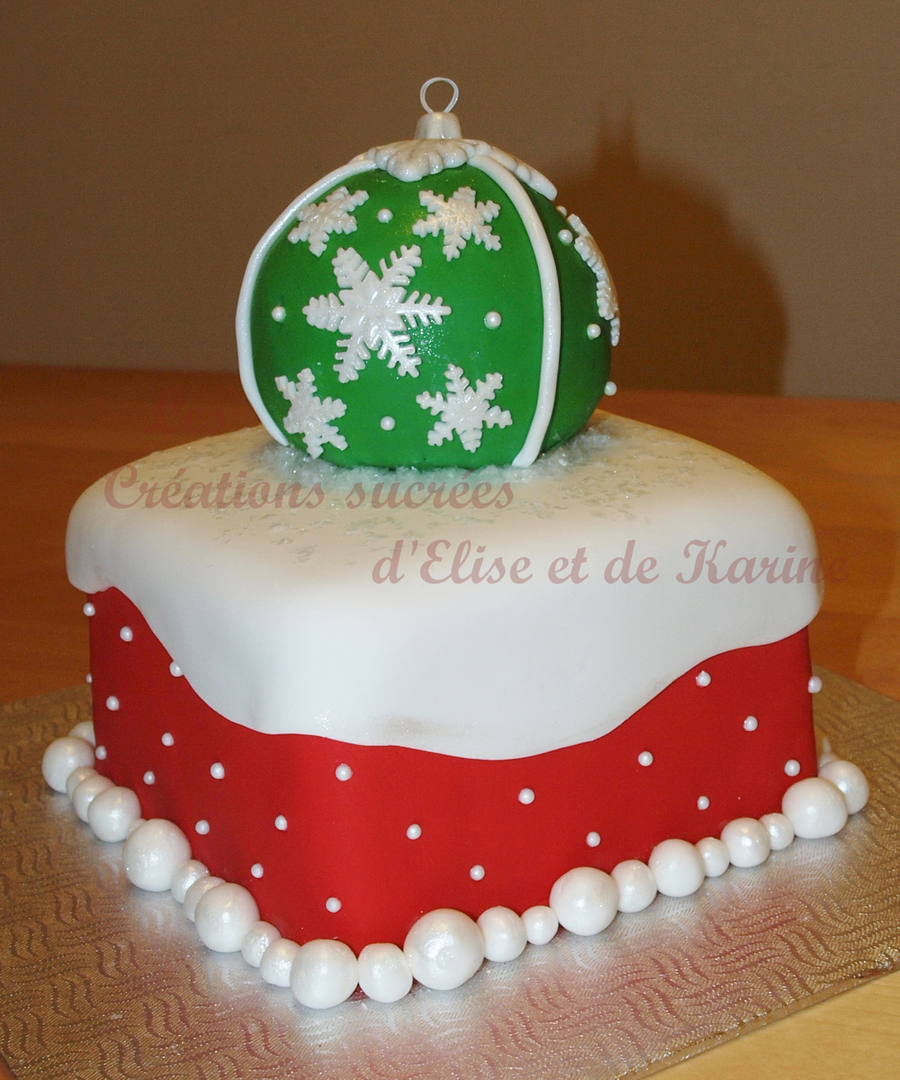 Green Christmas Bauble On A Red And White Base on Cake Central