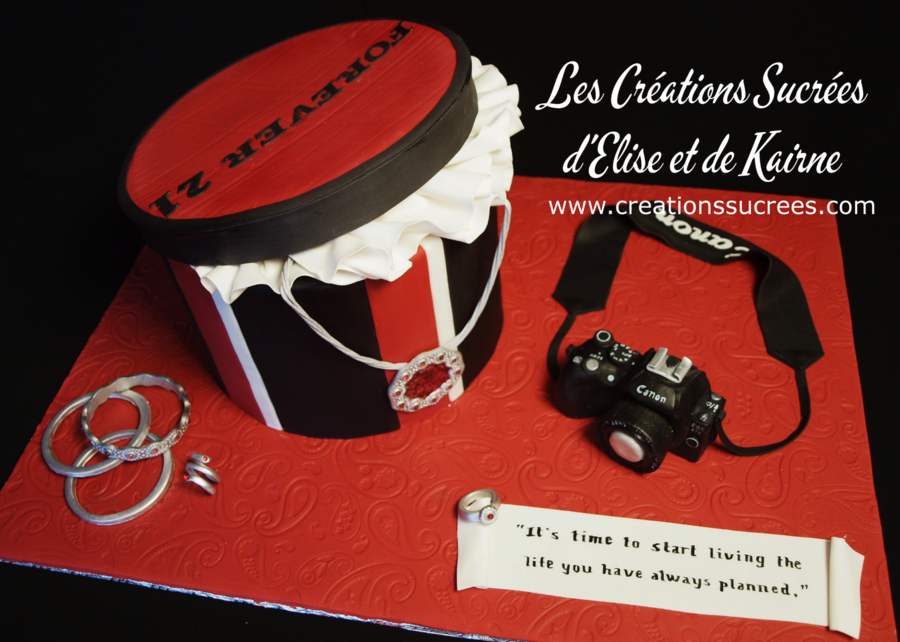 Gift Box With Jewels And Camera on Cake Central