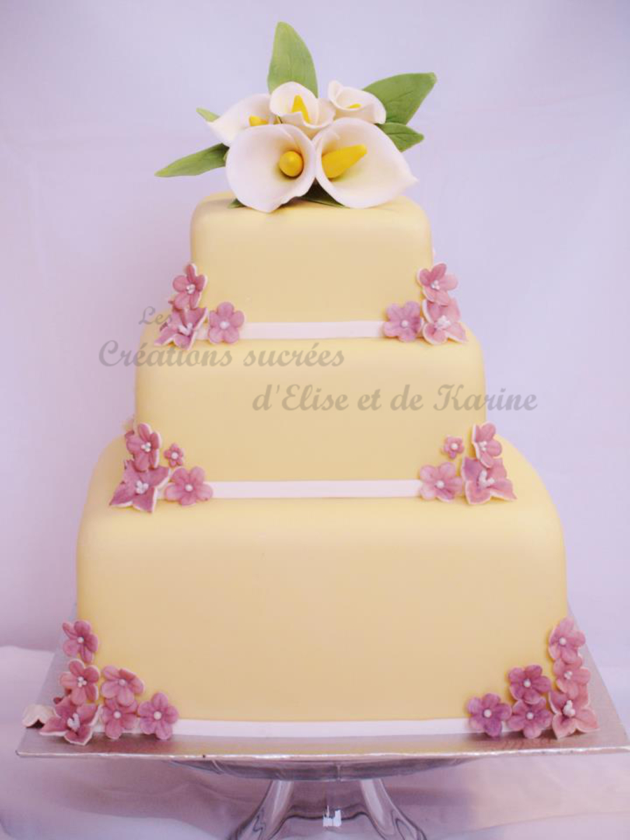 Calla And Lavender Spring Flowers Wedding Cake on Cake Central