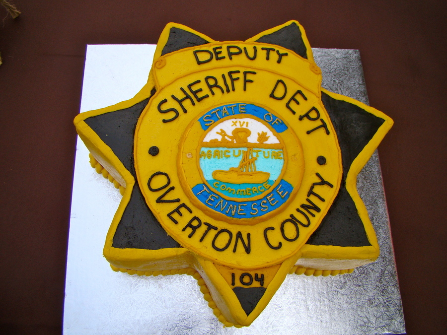 This Grooms Cake Is Two Layer Double Chocolate Cake With Chocolate Filling With Buttercream Icing I Had A Picture Of The Badge Blown Up To... on Cake Central