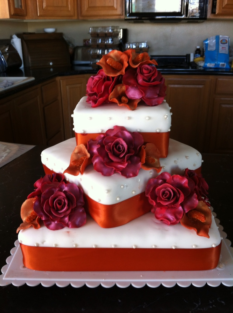 Roses And Calla Lilly Wedding Cake on Cake Central