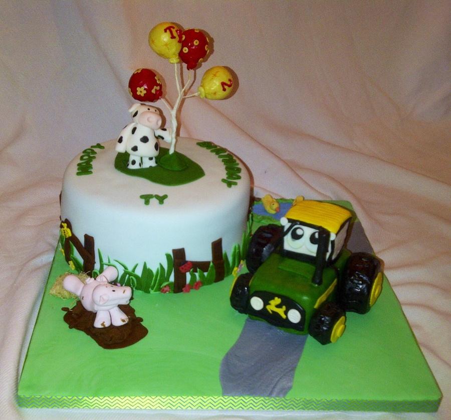 Miraculous Farm Themed Birthday Cake Used John Deere Tractor Image From Funny Birthday Cards Online Amentibdeldamsfinfo